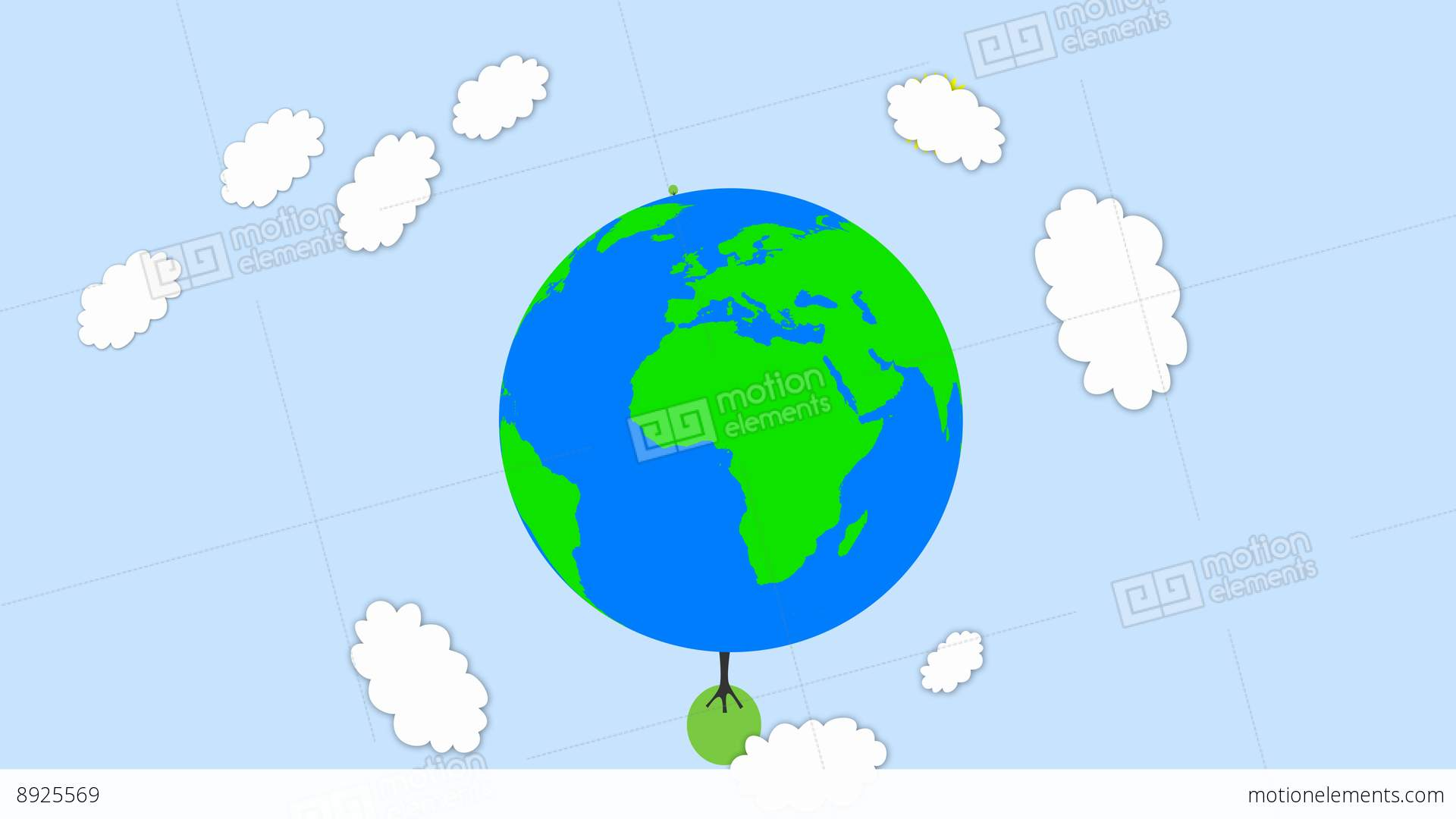 Earth Showing Food Chain With Tree Popup On It And Cartoon ...