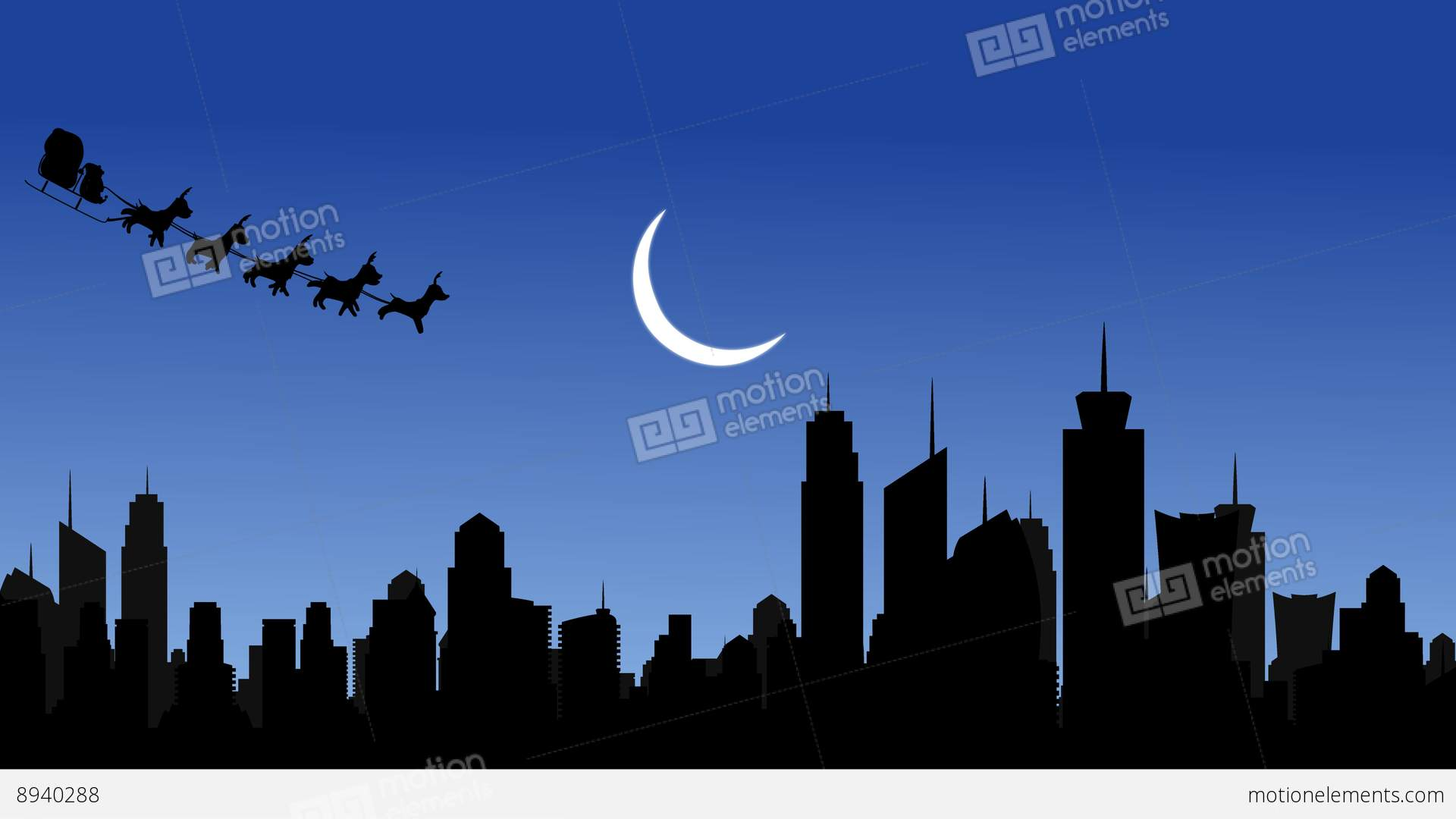 And Flying Santa Sleigh By Reindeer Over City After Effects Template ...