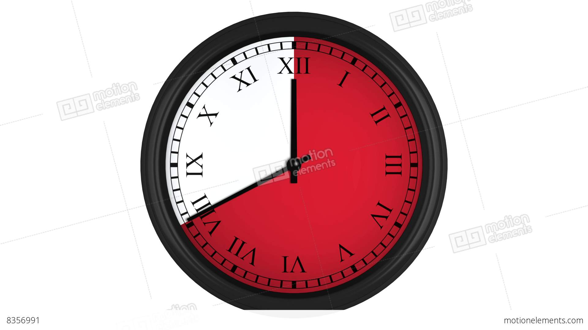 Animated Clock With Roman Numerals And A Red Time Interval Stock ...