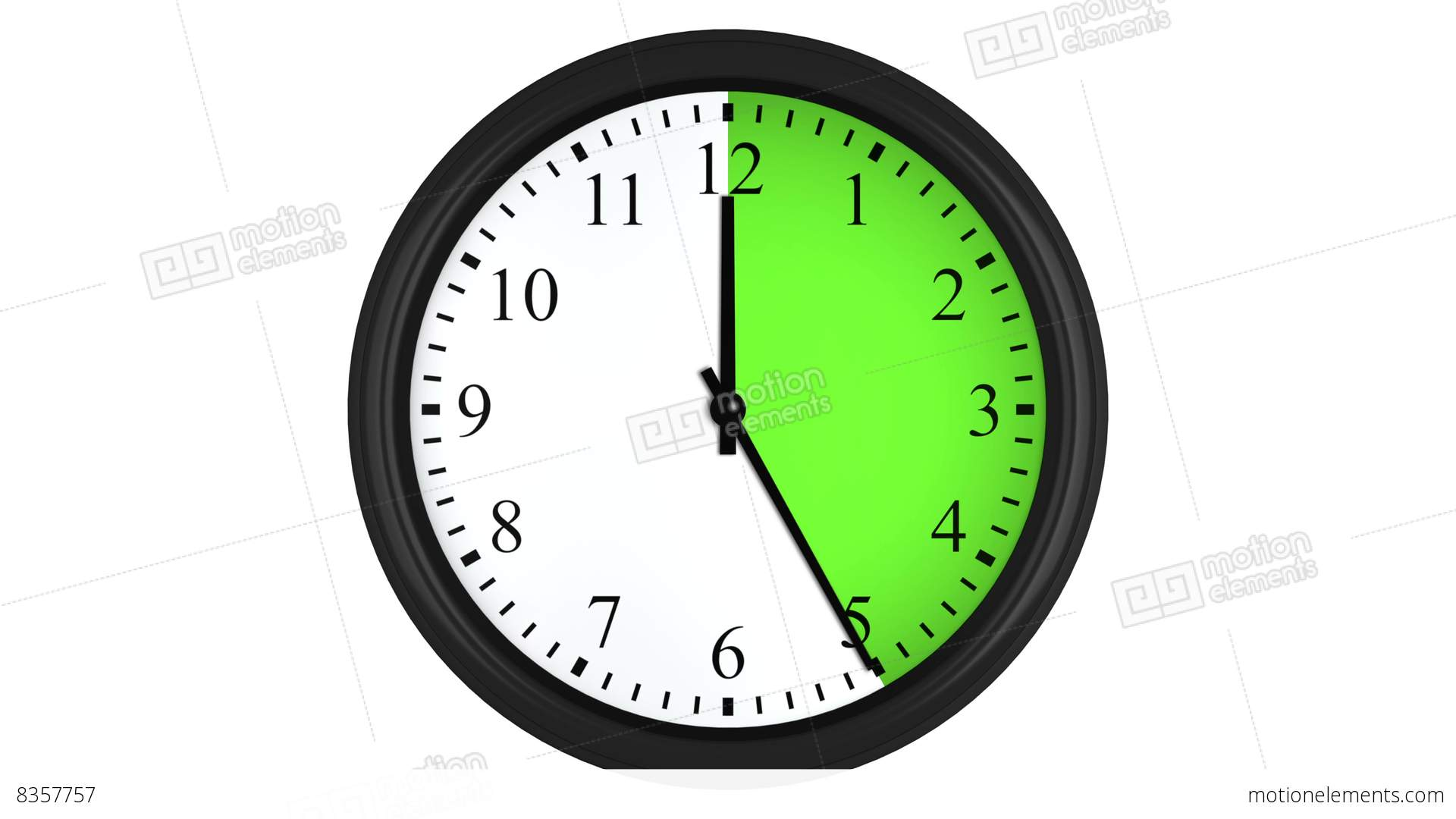 Animated clock with a green time interval  Stock Animation