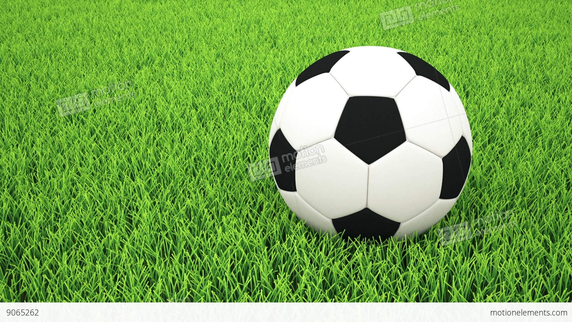Deportes Pelotas Fondo Grunge: Panning To Soccer Ball On Grass Stock Animation