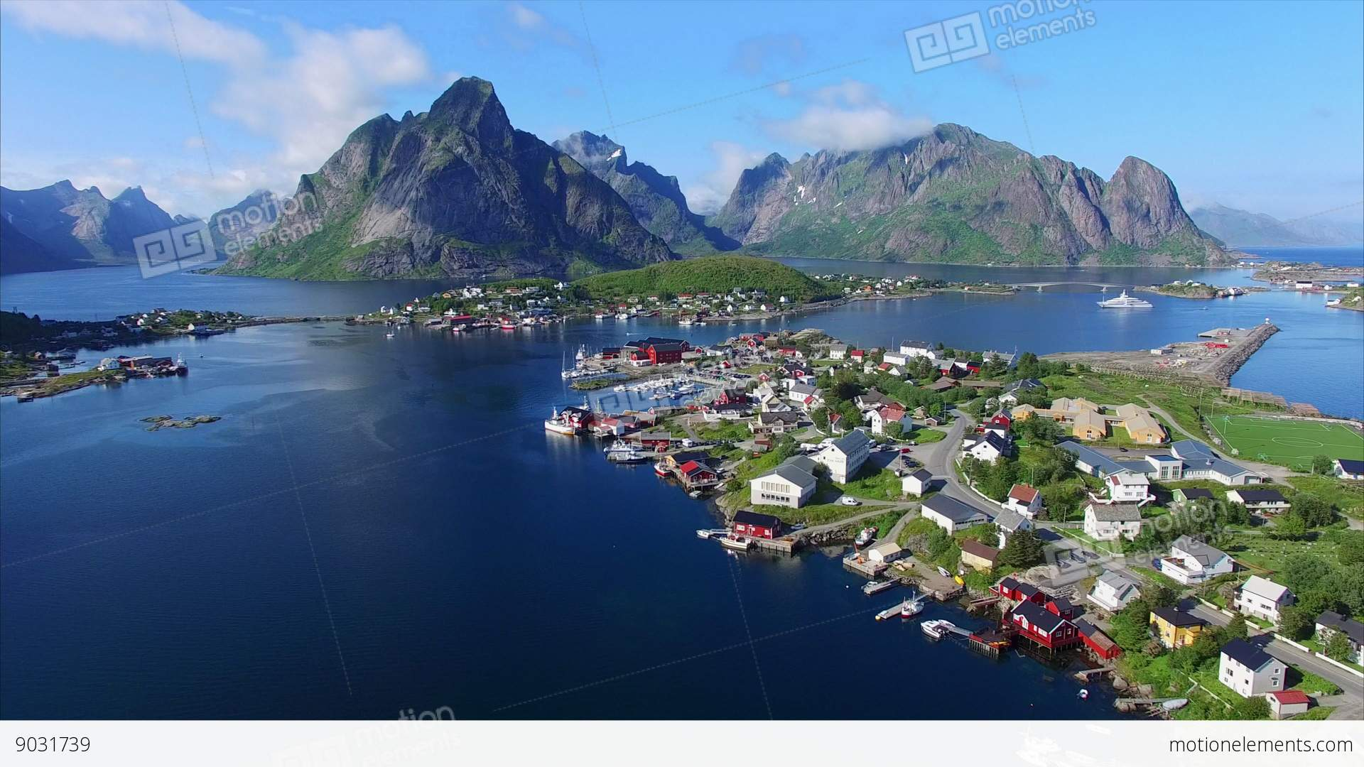 Minimalist Fishing Town Reine On Lofoten Islands In Norway Stock