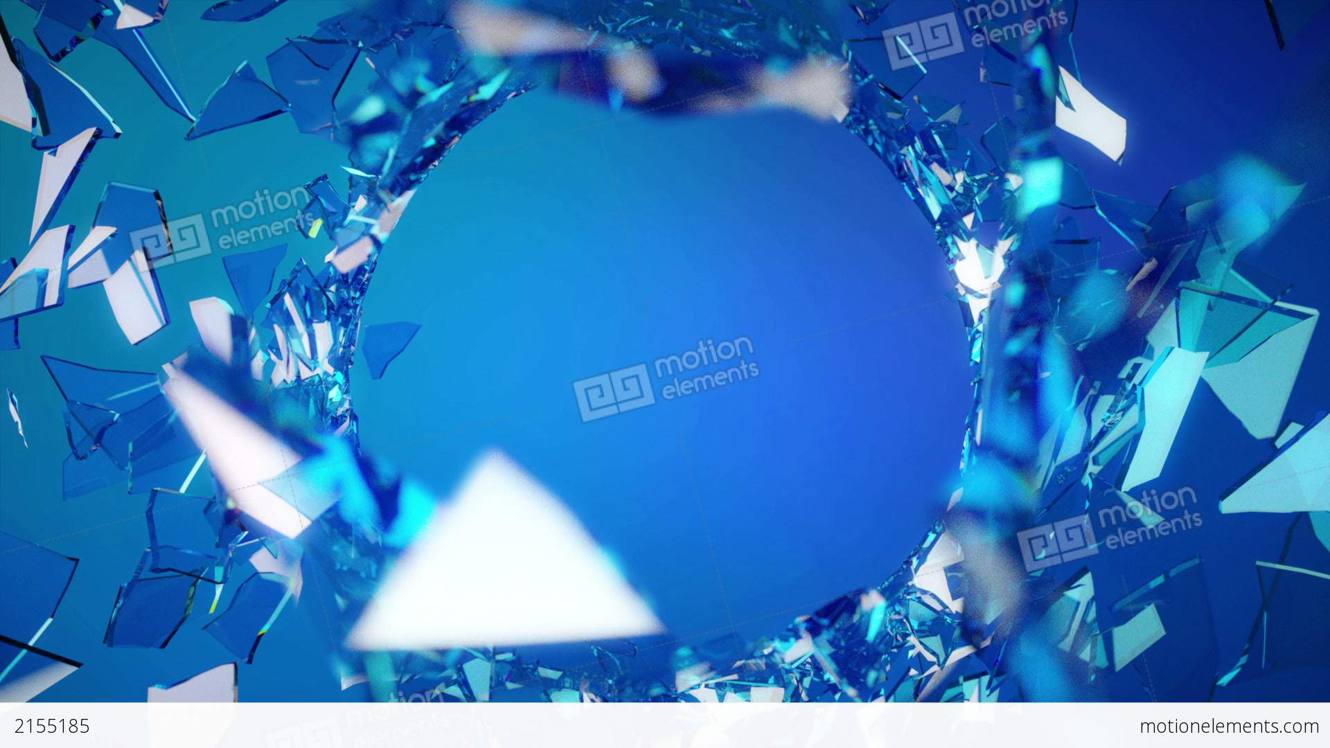 Cracked And Shattered Blue Glass With Slow Motion Stock Video Footage