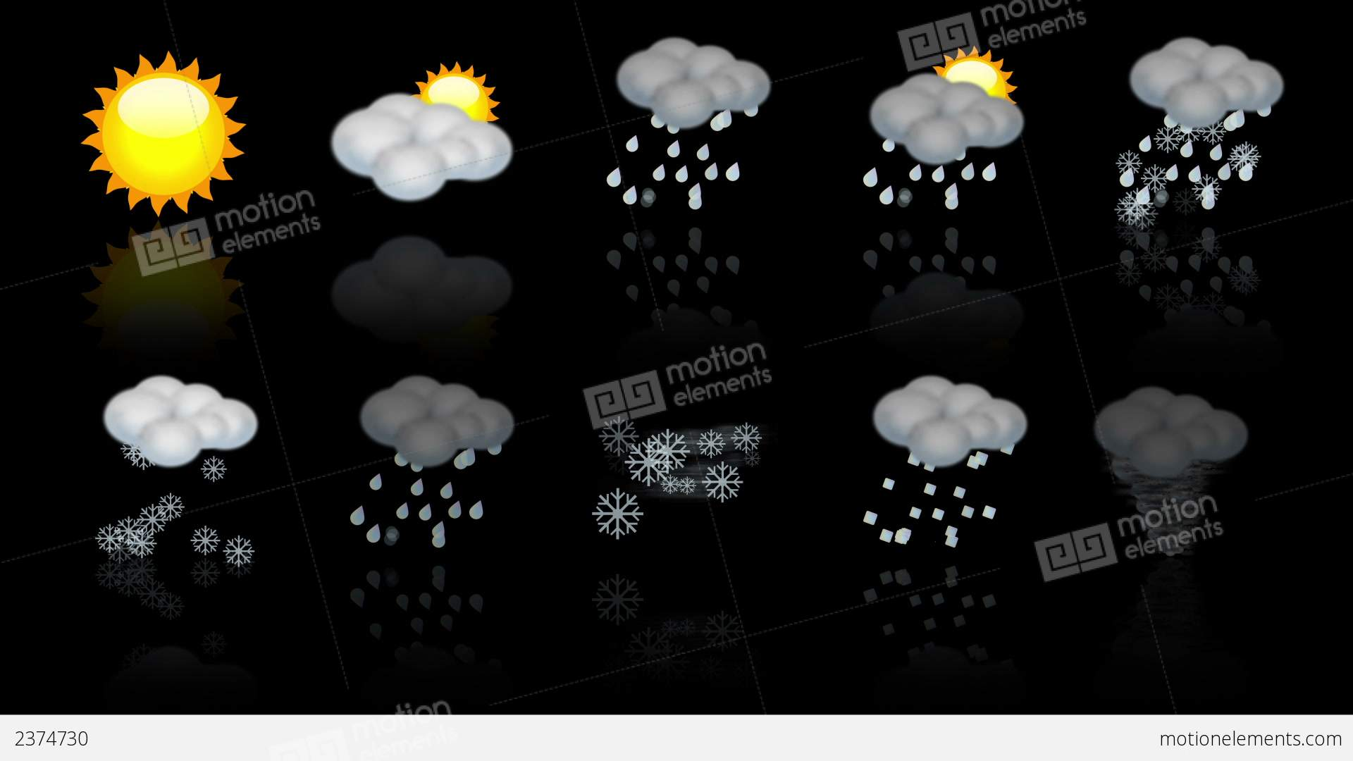 weather animated icon set  loop stock animation