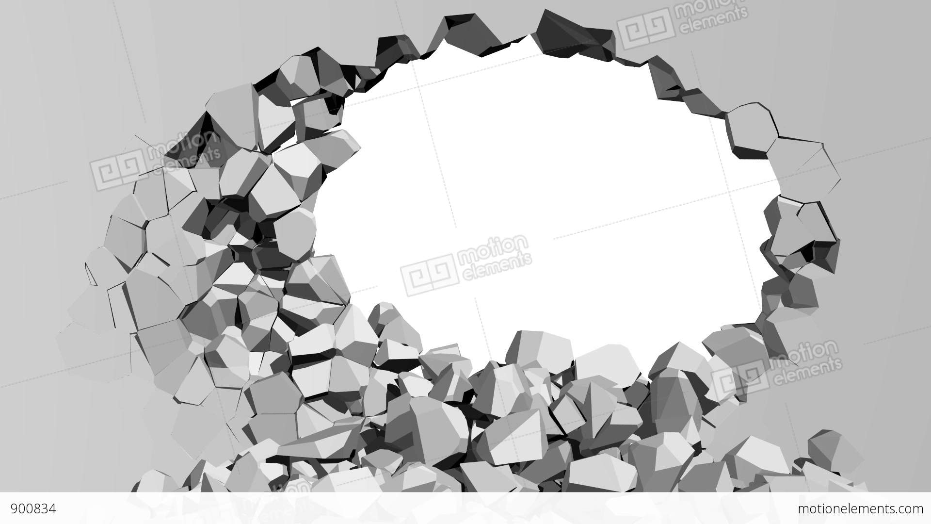 crumbling concrete wall with hole stock animation 900834