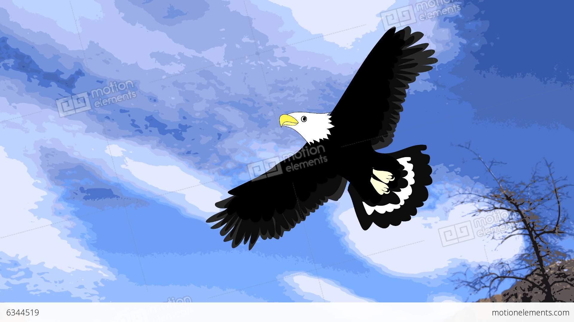 Lovely Eagle Soars In The Sky, Animation, Cartoon Stock