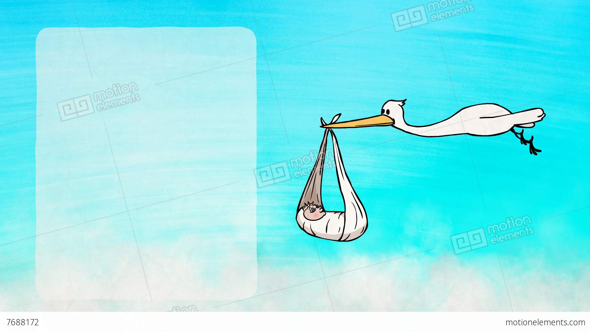 stork bringing a newborn baby greeting card stock animation 7688172