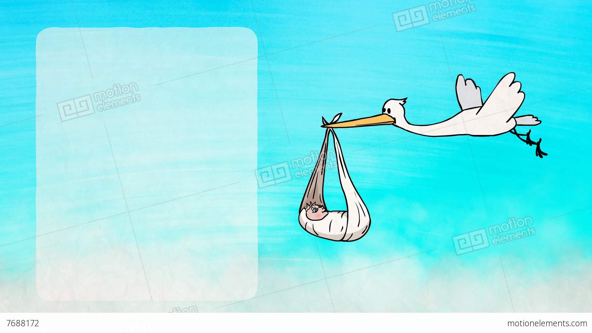 stork bringing a newborn baby greeting card stock animation 7688172