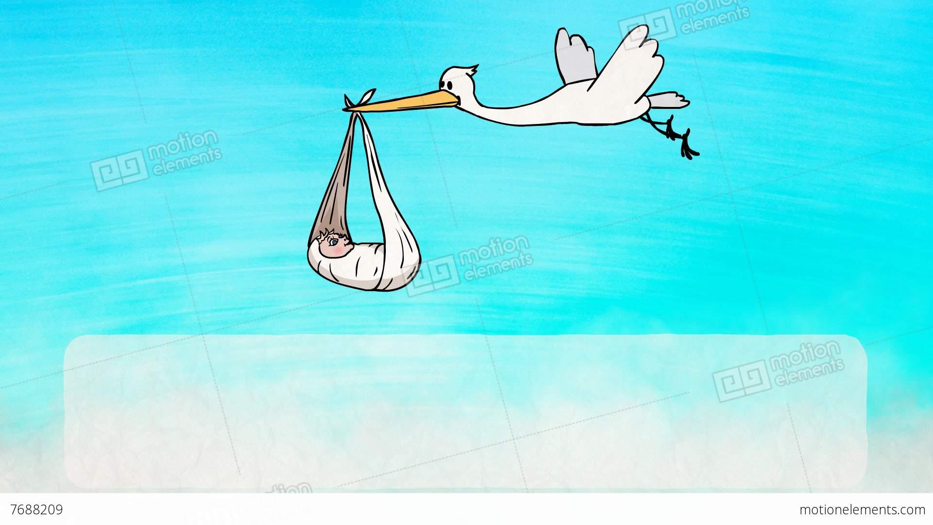 Stork Bringing A Newborn Baby Greeting Card Stock Animation 7688209