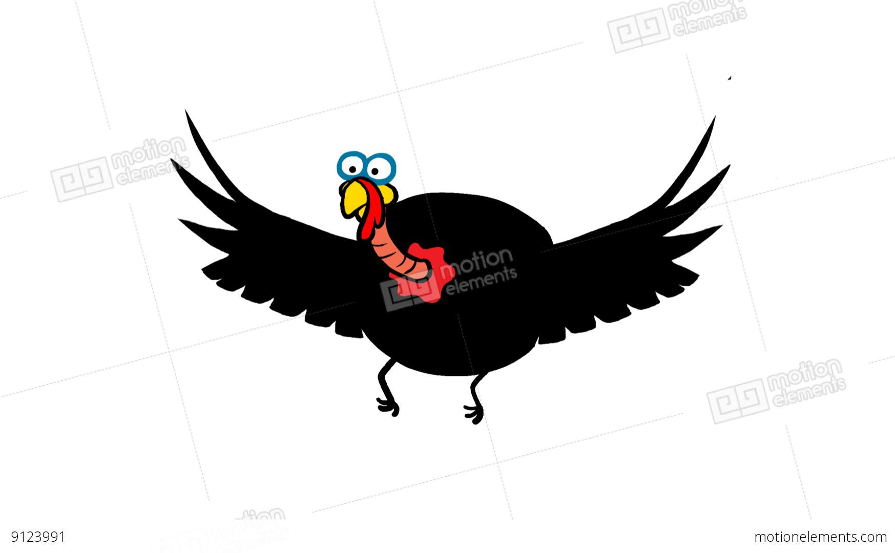 flying cartoon turkey stock animation | 9123991