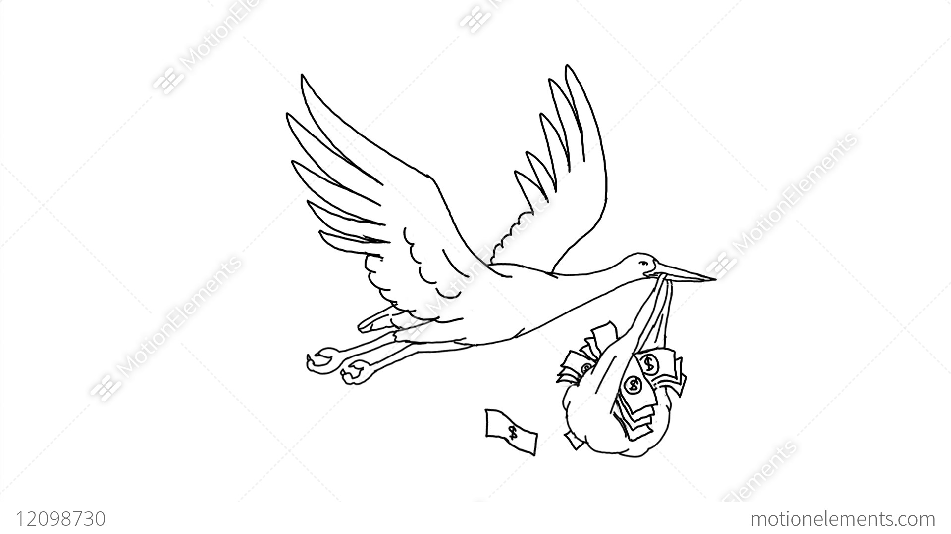 Stork Carrying Money Bag Drawing 2d Animation Stock Video Footage