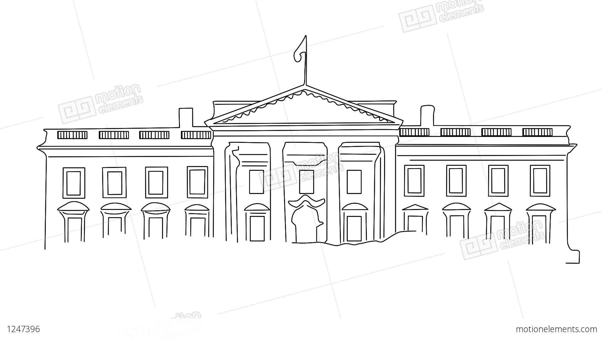 white house 01 handdraw stock animation