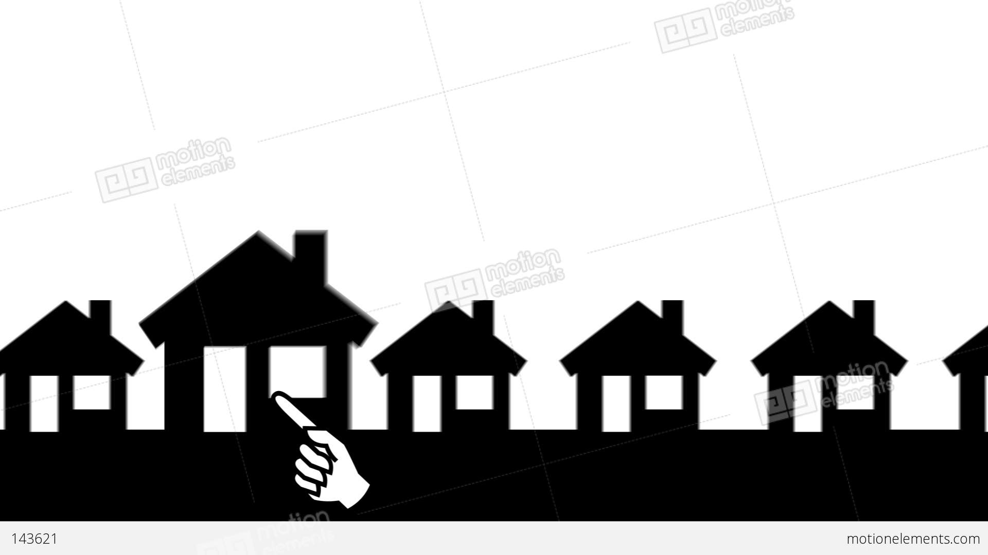 White Arrow Zooming In Animated Houses (White Background) Stock ... for Animated House Black And White  55jwn