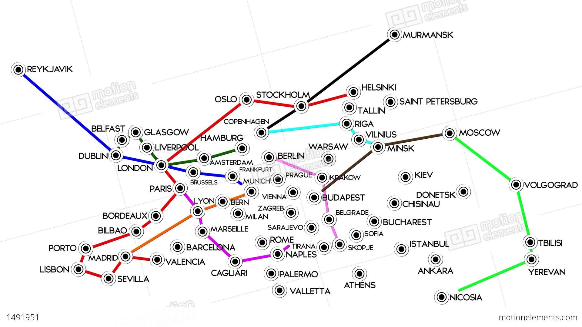 4 K European Cities Subway Map Design 1 Stock Animation 1491951