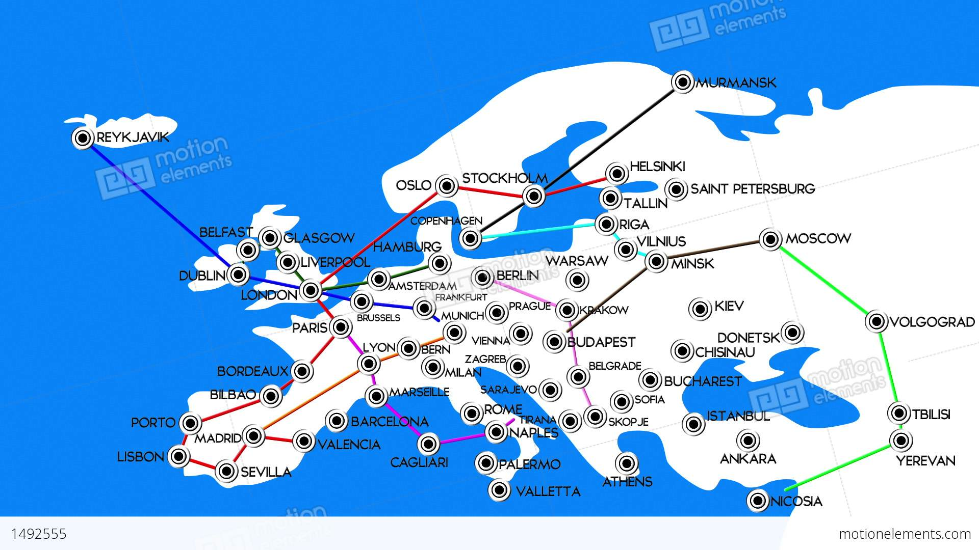 European Cities Subway Map Design 1 Stock Animation 1492555