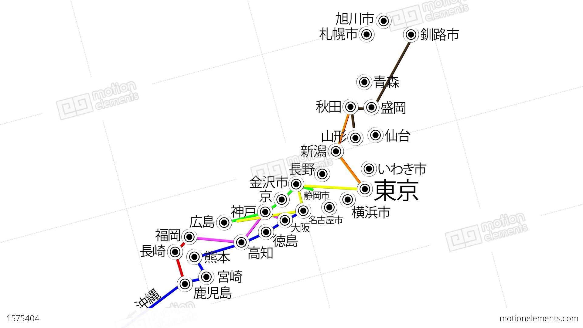 K Japan Cities Subway Map Design Stock Animation - Japan map hd