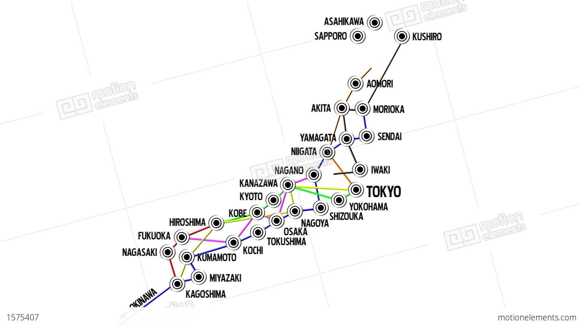Japan Cities Subway Map Design 1 Stock Animation 1575407