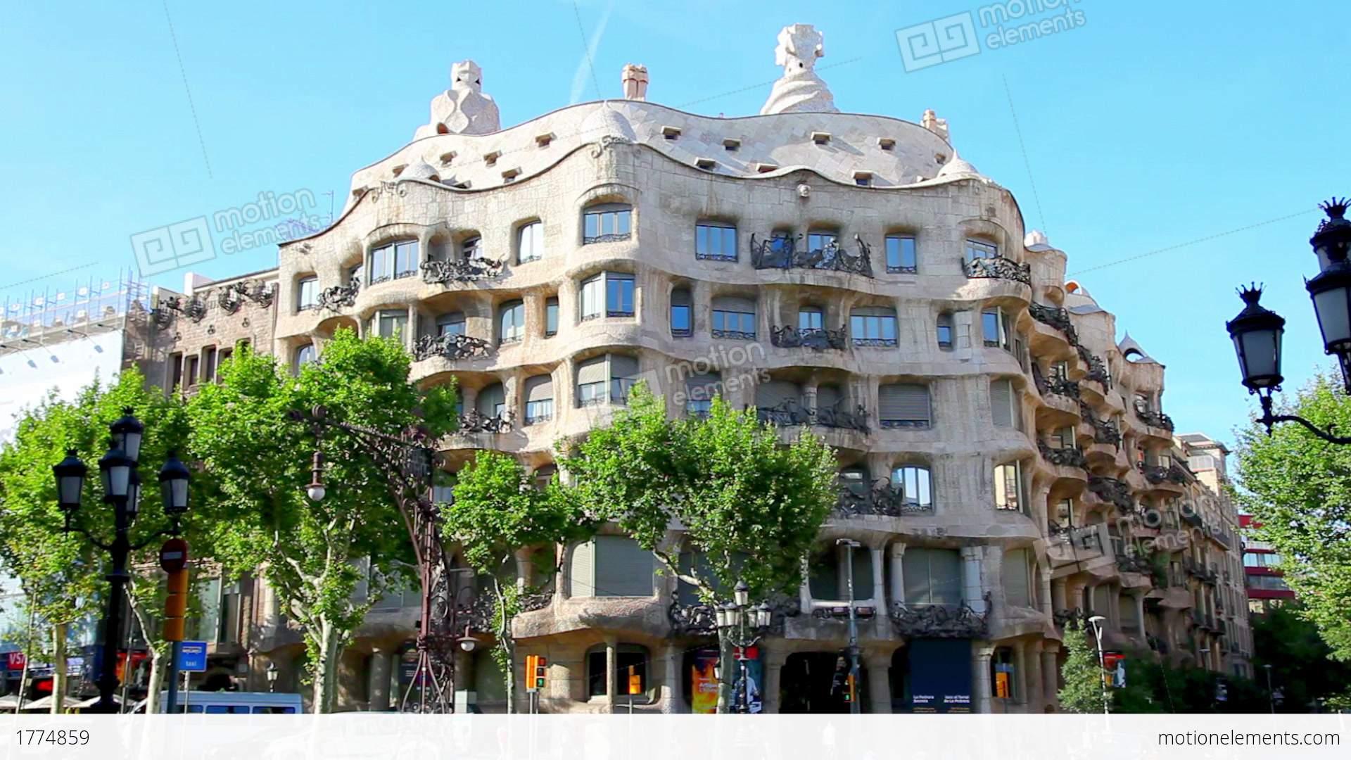 Casa mila la pedrera in barcelona spain stock video footage 1774859 - Casa la pedrera gaudi ...