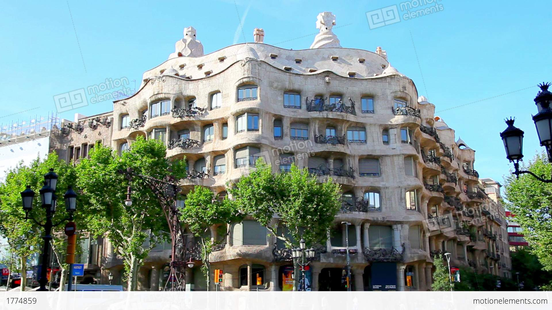 casa mila la pedrera in barcelona spain stock video. Black Bedroom Furniture Sets. Home Design Ideas