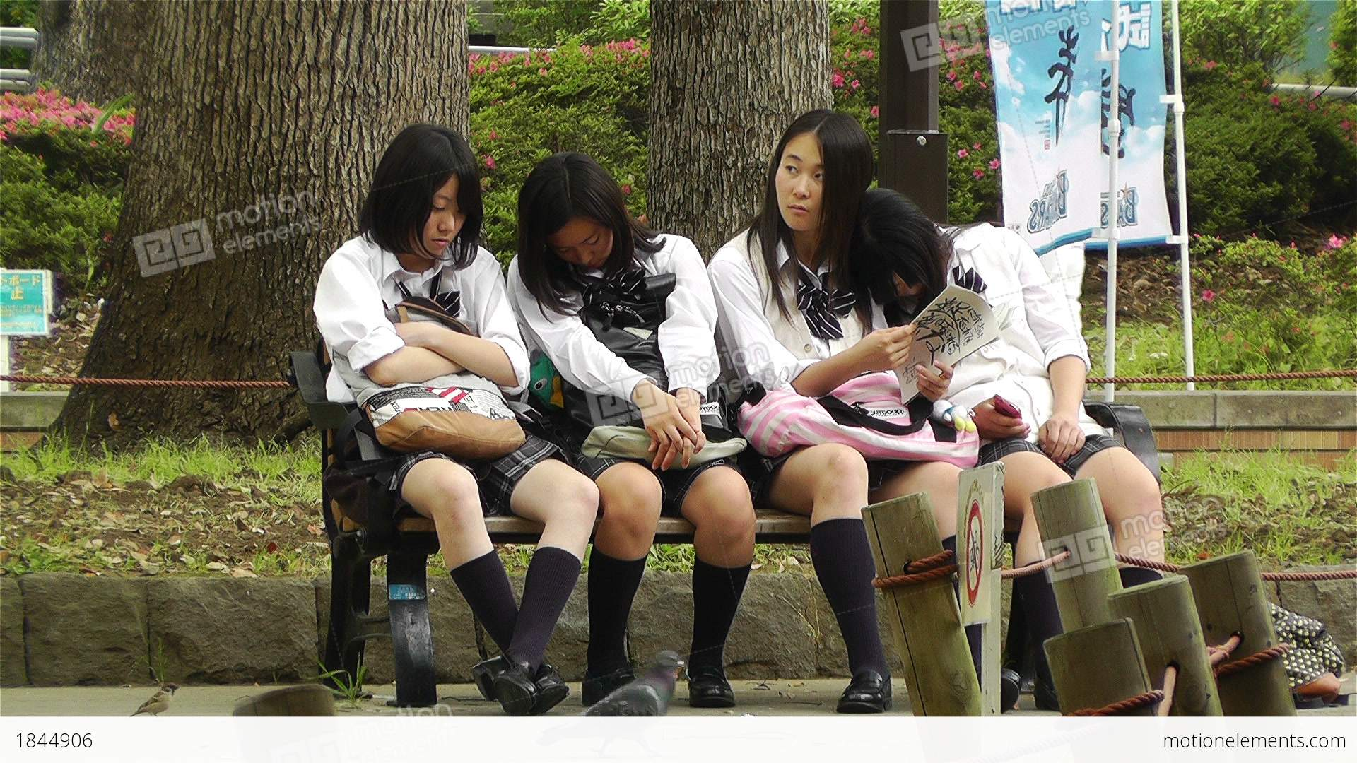 Japanese Schoolgirls Relaxing In Park In Yokohama Japan 11 -8099