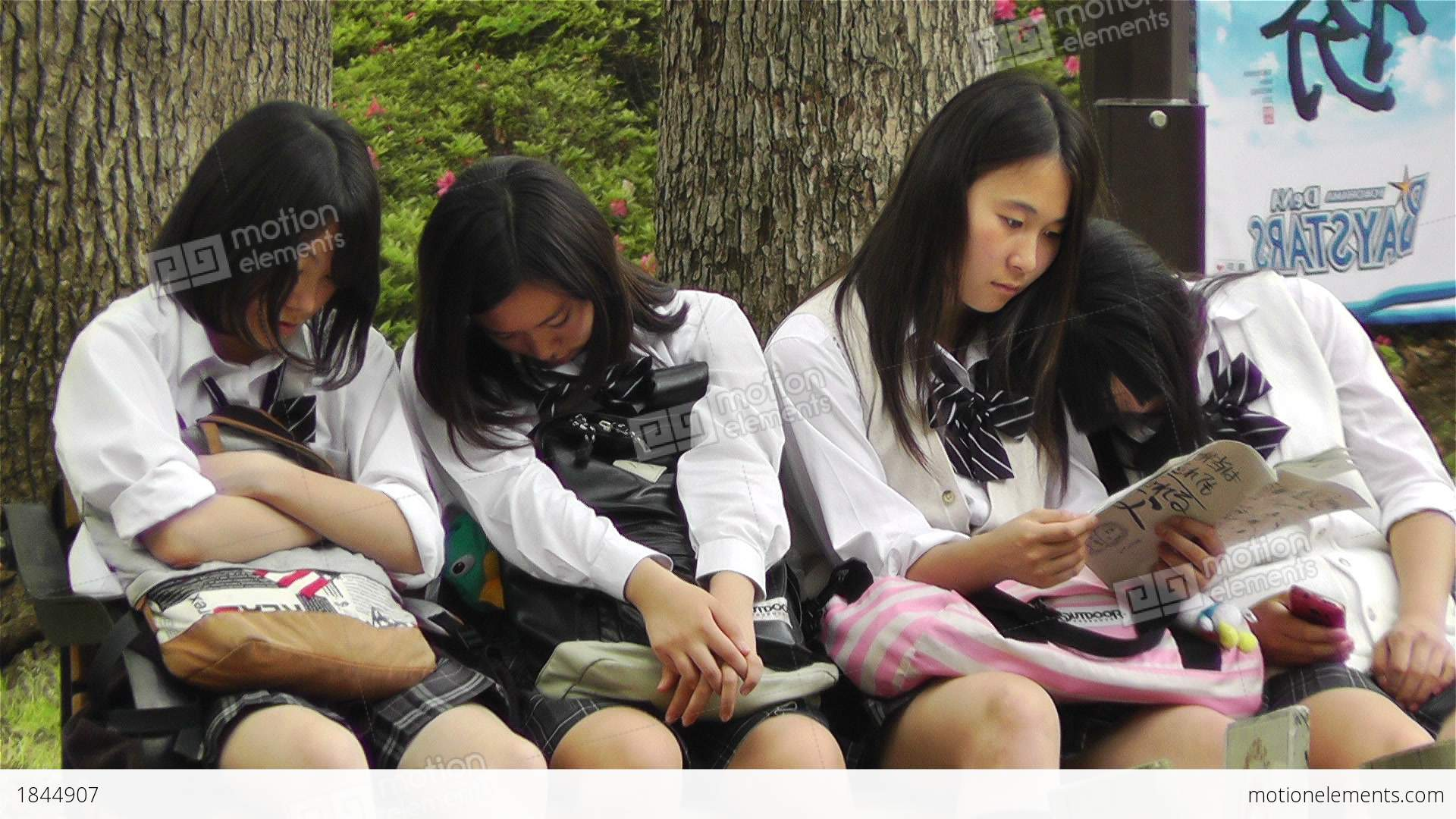Japanese Schoolgirls Relaxing In Park In Yokohama Japan 12 -5180