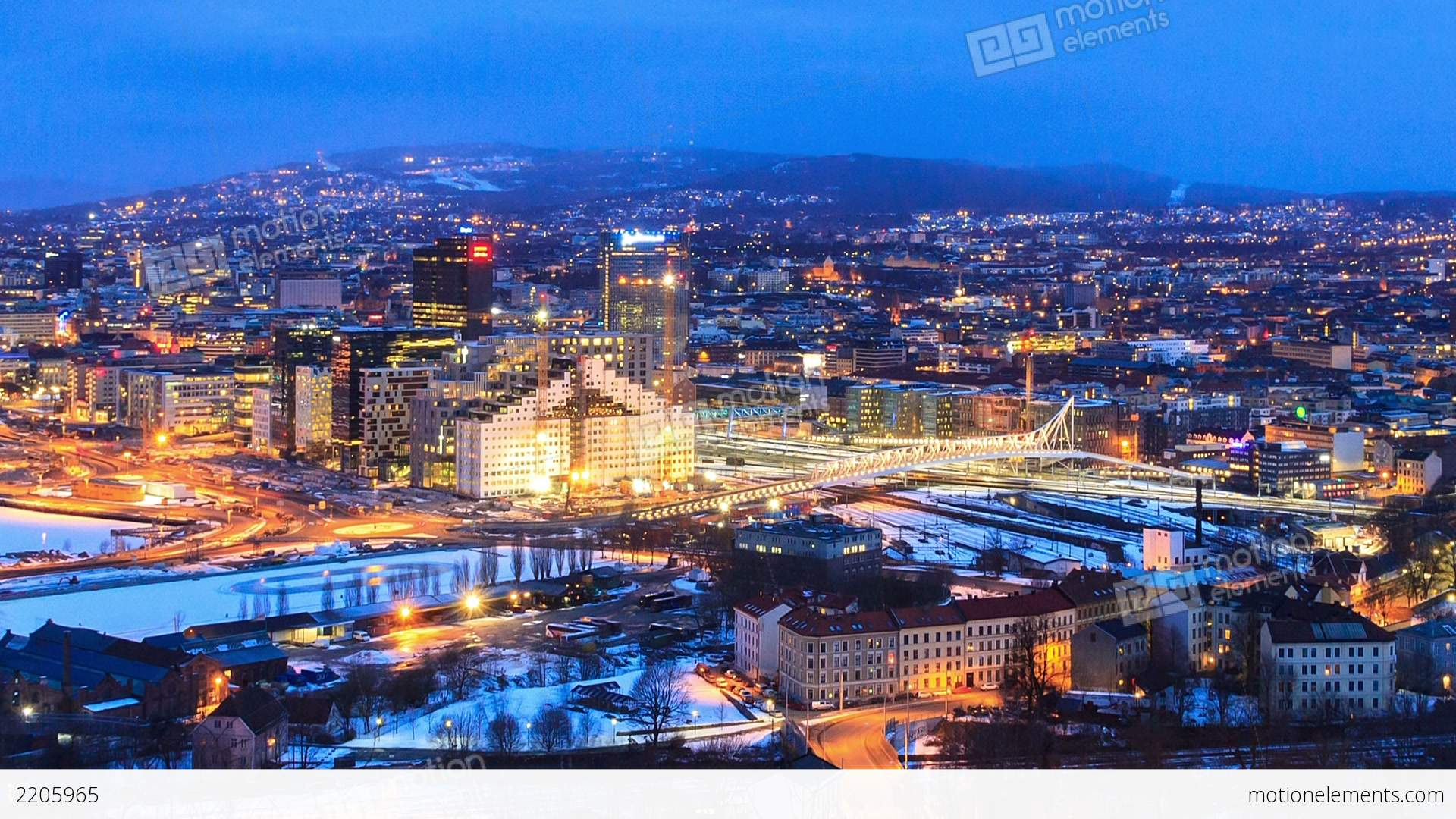 Dawn Over Oslo, Norway Stock Video Footage   Royalty-Free Stock video ...