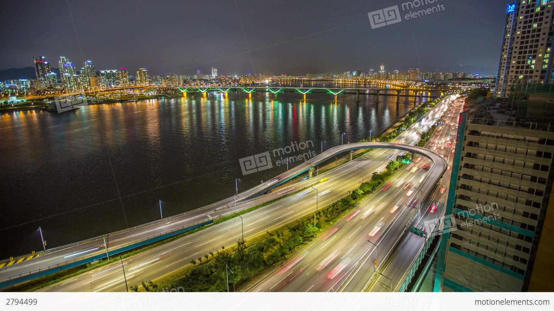 Seoul City 255 Highway Bridge Traffic Stock video footage ...
