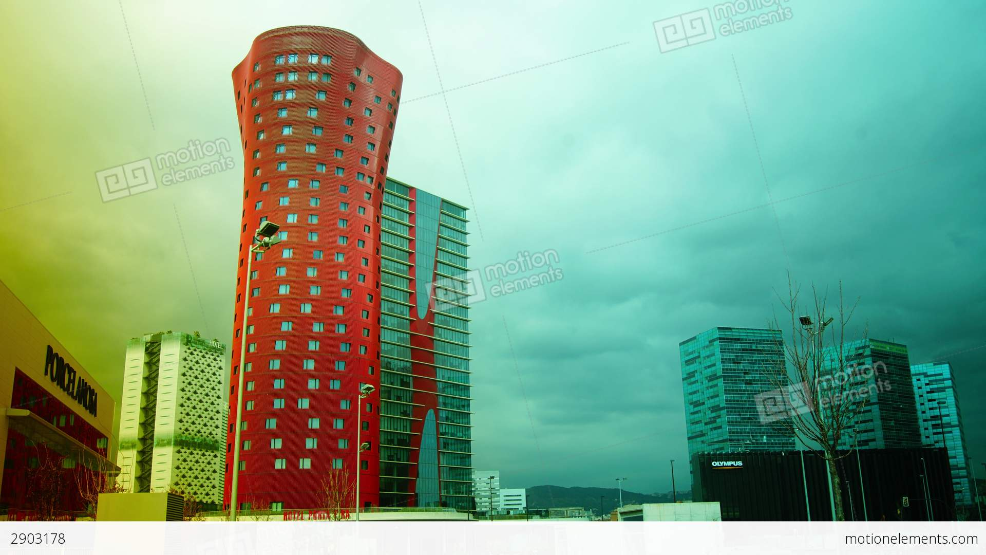 The Hotel Porta Fira Barcelona Red And Shaped Lik Stock Video - Hotel porta fira