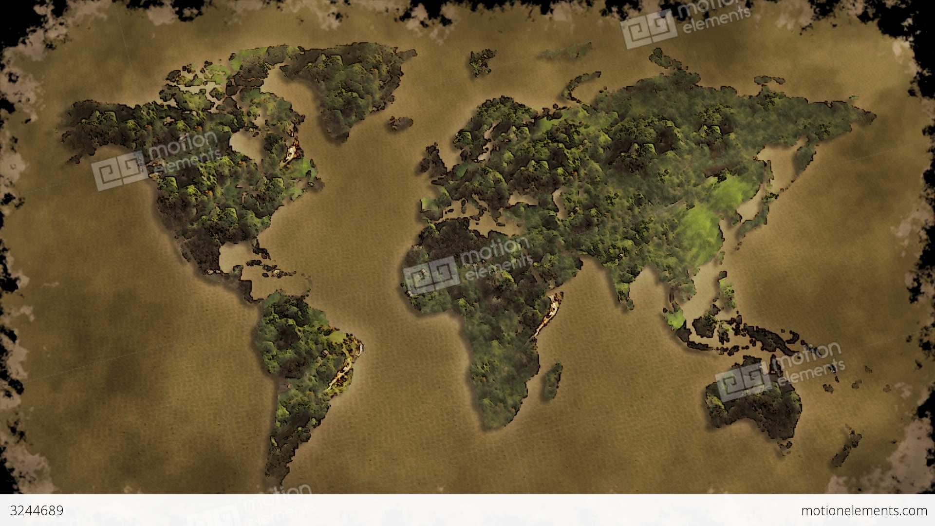 Vintage World Map Burn Black Screen Stock Animation 3244689
