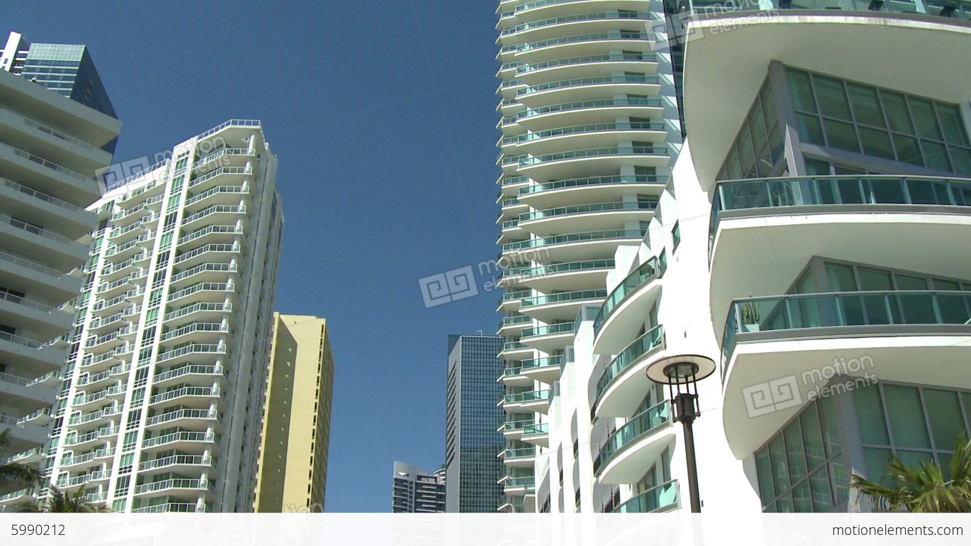 Apartment Buildings In Downtown Miami Stock video footage ...
