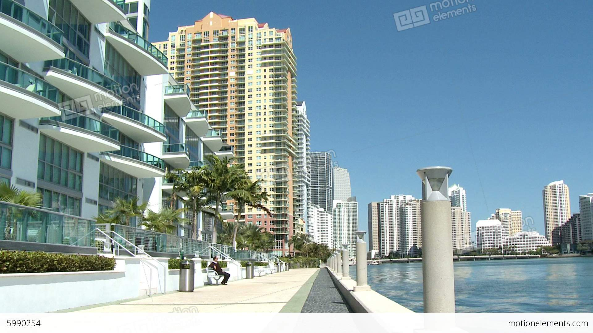 Luxurious Apartment Buildings In Brickell Miami Stock Video Footage