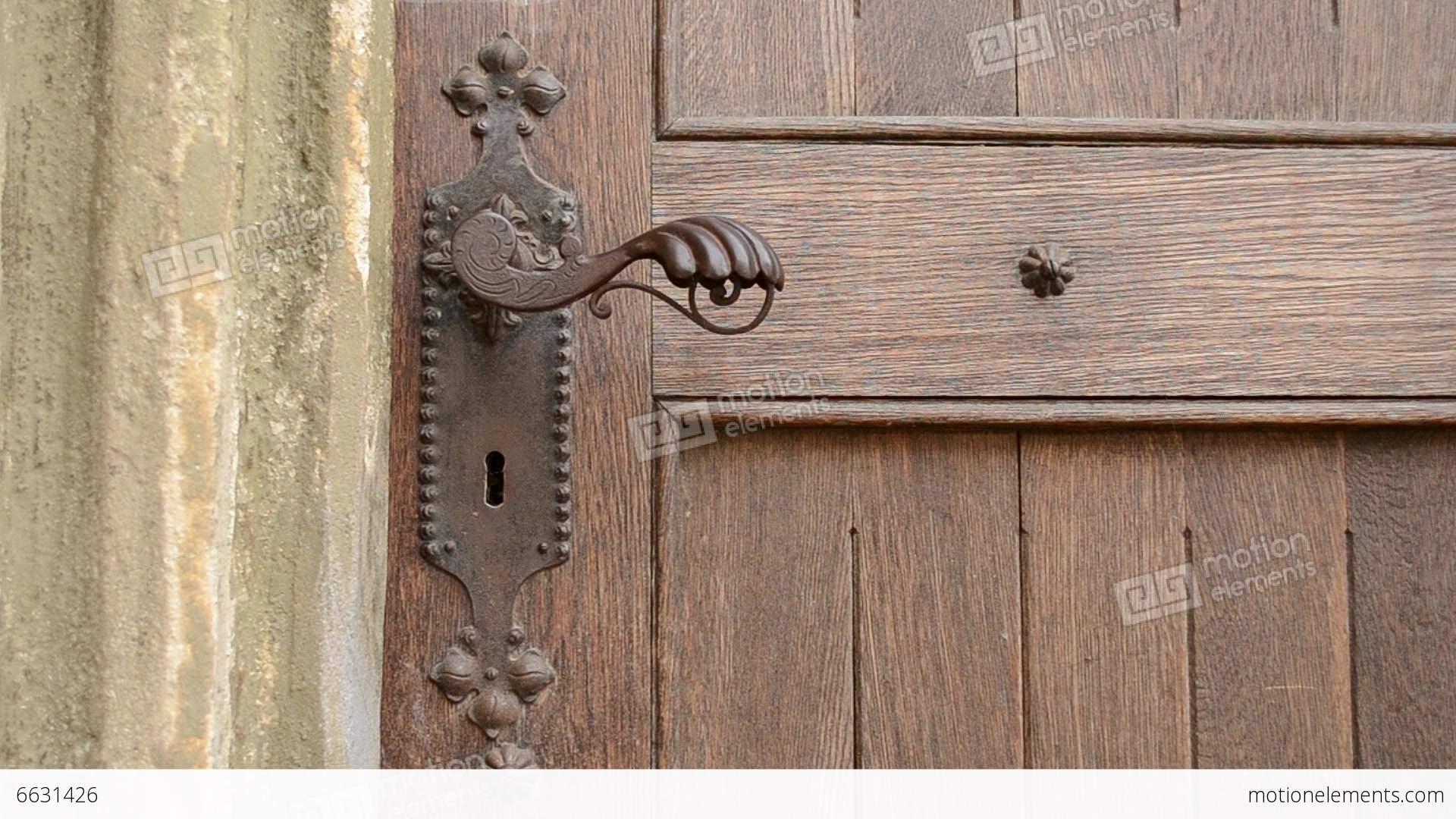 Woman Push Old Door Handle Stock Video Footage