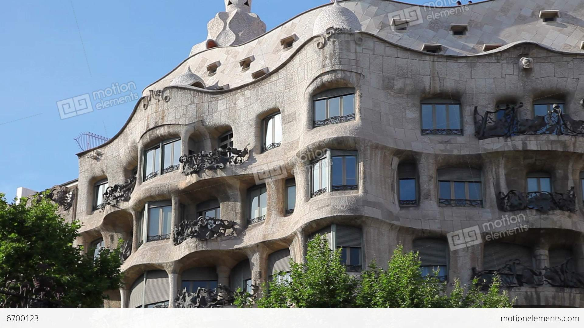 la pedrera casa mila gaudi building in barcelona stock. Black Bedroom Furniture Sets. Home Design Ideas