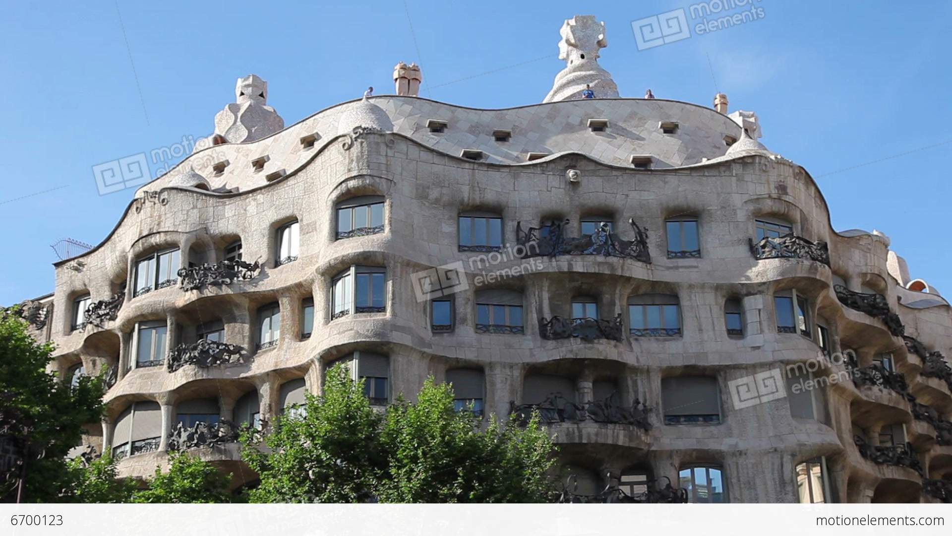 La pedrera casa mila gaudi building in barcelona stock video footage 6700123 - Casa la pedrera gaudi ...