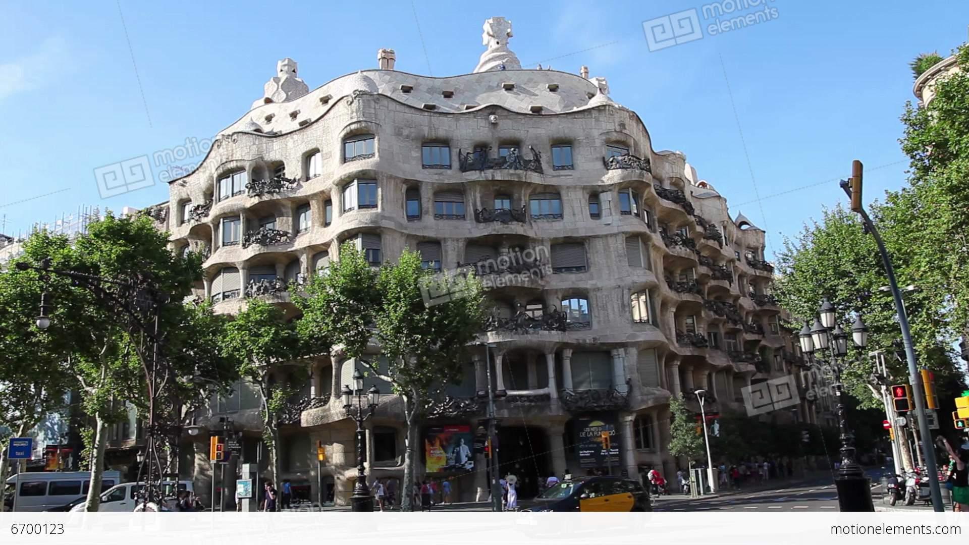 La pedrera casa mila gaudi building in barcelona stock video footage 6700123 - Casa mila la pedrera ...