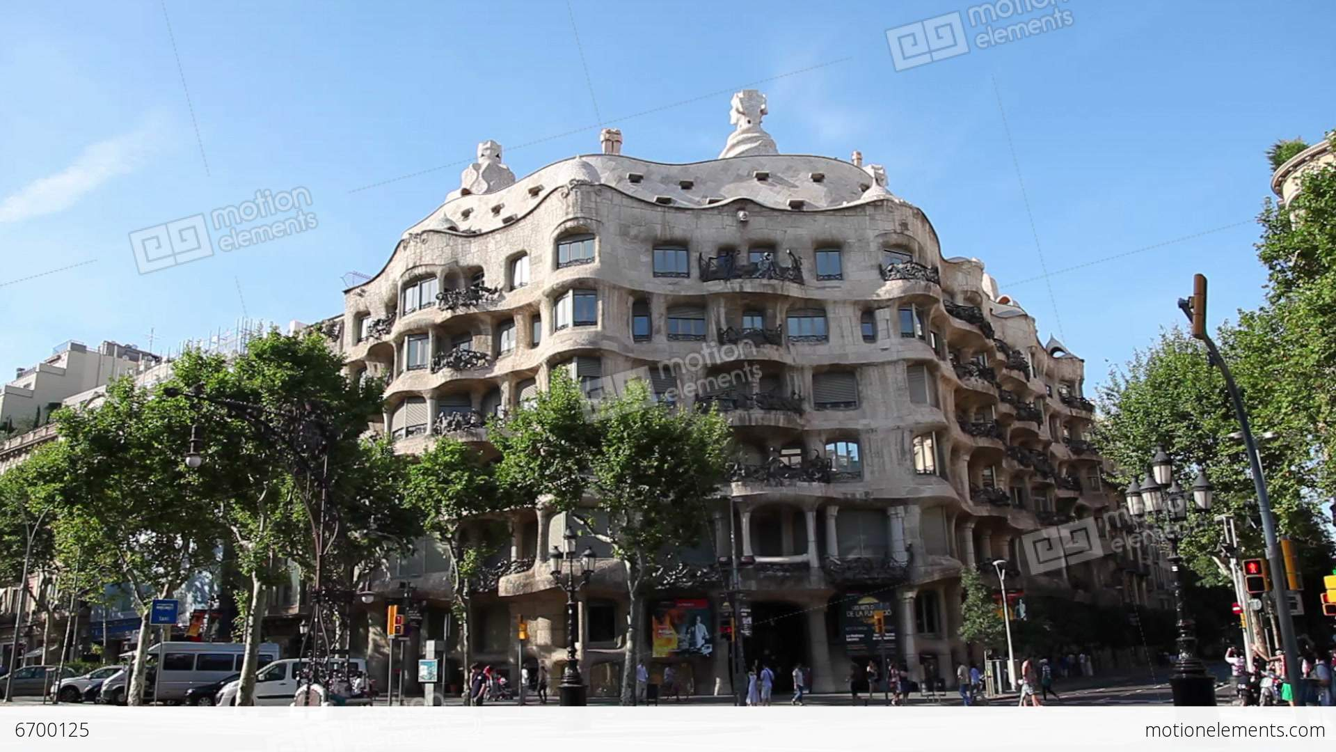 La pedrera casa mila gaudi building in barcelona stock video footage 6700125 - Casa mila la pedrera ...