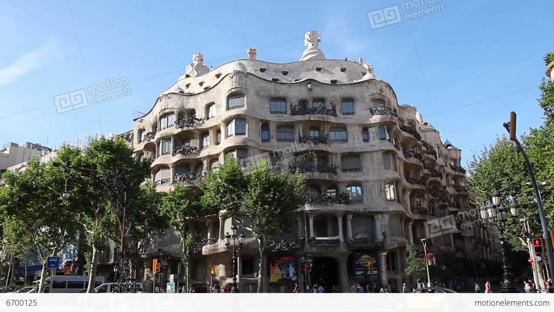 La pedrera casa mila gaudi building in barcelona stock video footage 6700125 - Casa la pedrera gaudi ...