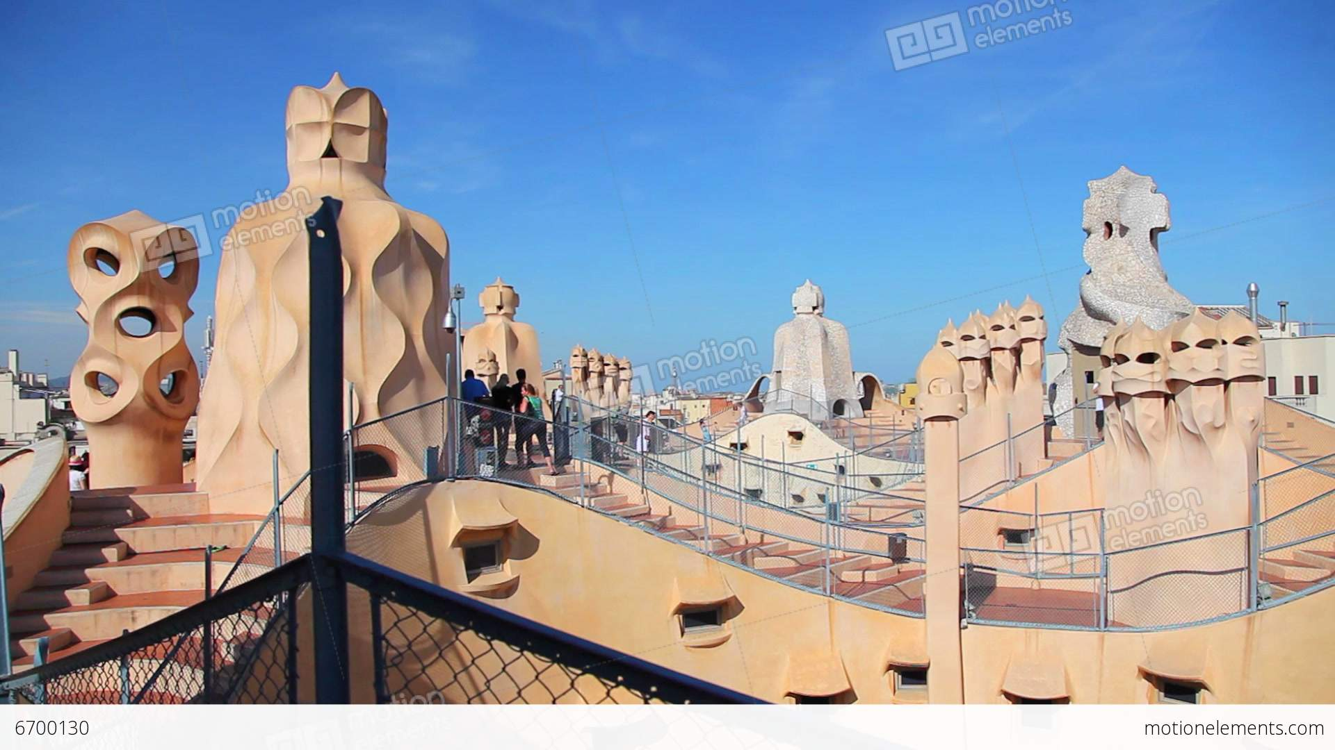 gaudi casa mila la pedrera barcelona stock video footage. Black Bedroom Furniture Sets. Home Design Ideas