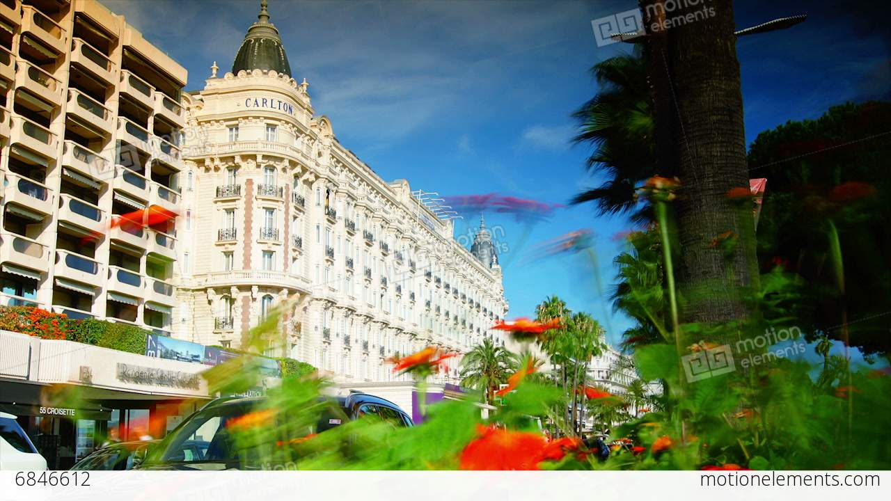 Luxury InterContinental Carlton Cannes Hotel Francetime Stock Video Footage