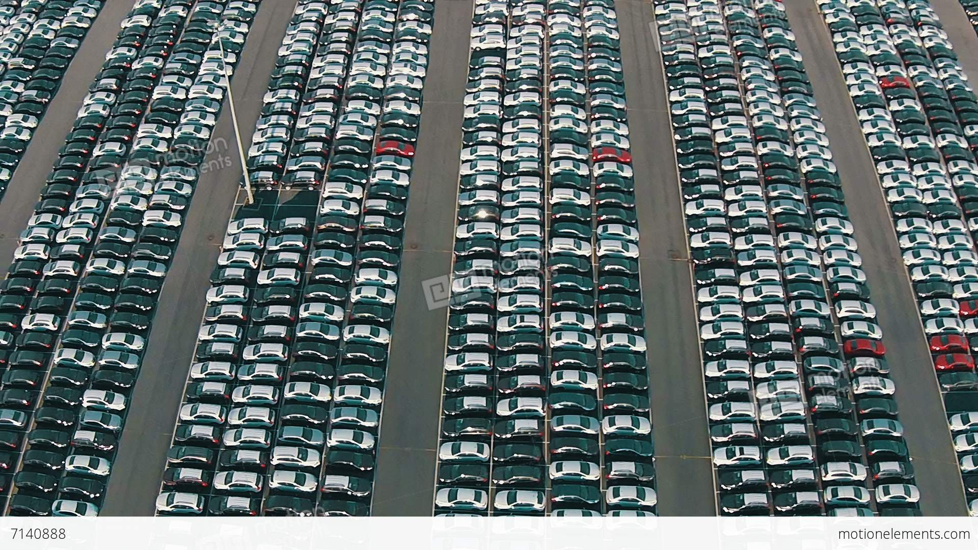 Flying Above Storage Parking Lot Of New Unsold Cars Stock video ...
