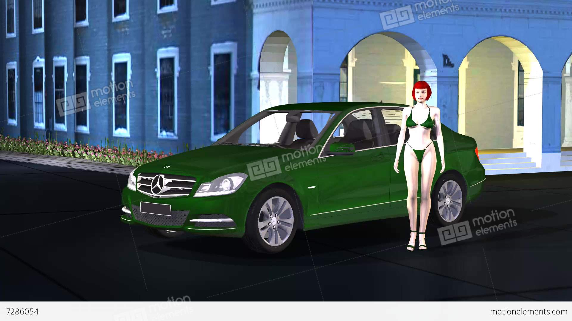 Car Mercedes With Beauty Girl Model Pose And Catwalk On Old Building ...