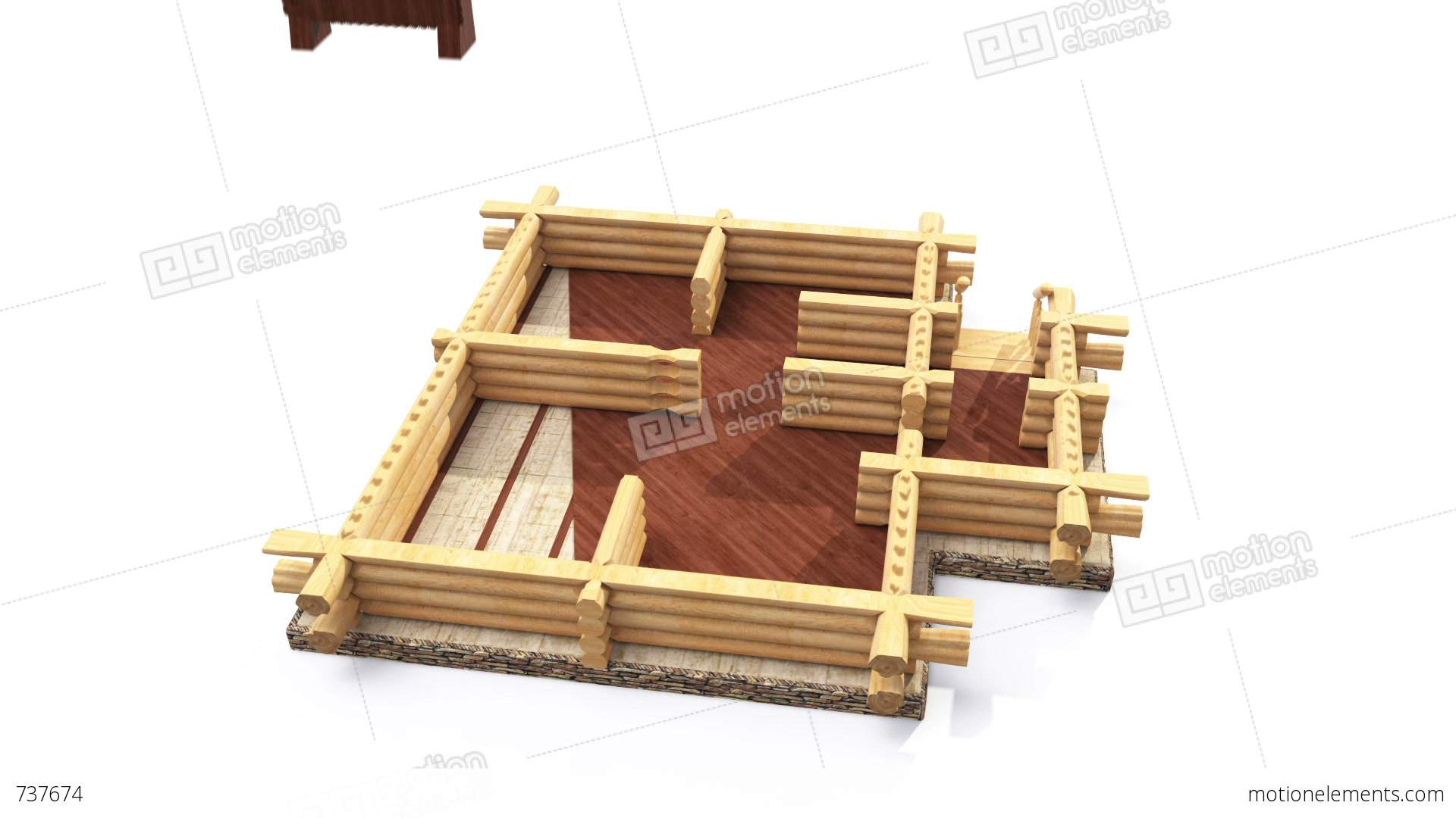 Animated construction of log house stock animation 737674 for Log construction