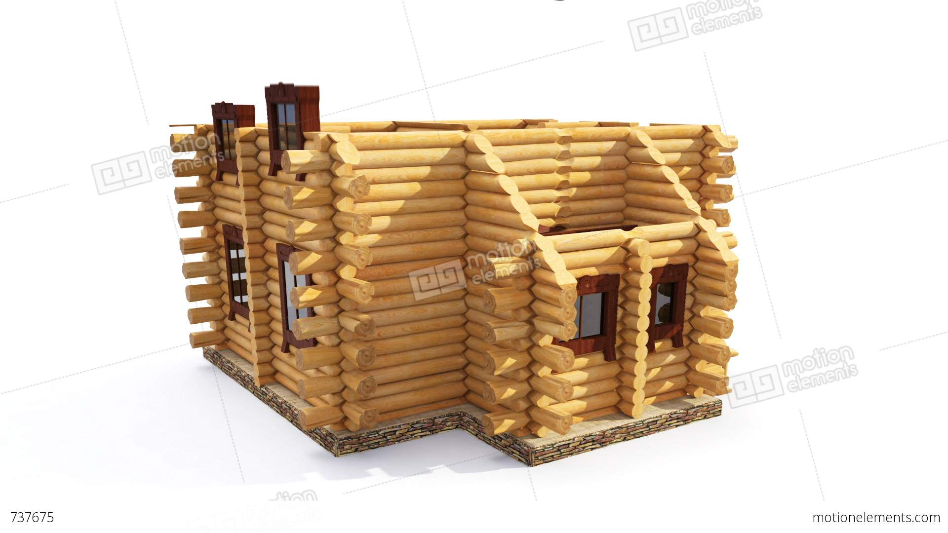 Animated construction of log house stock animation 737675 for Log construction