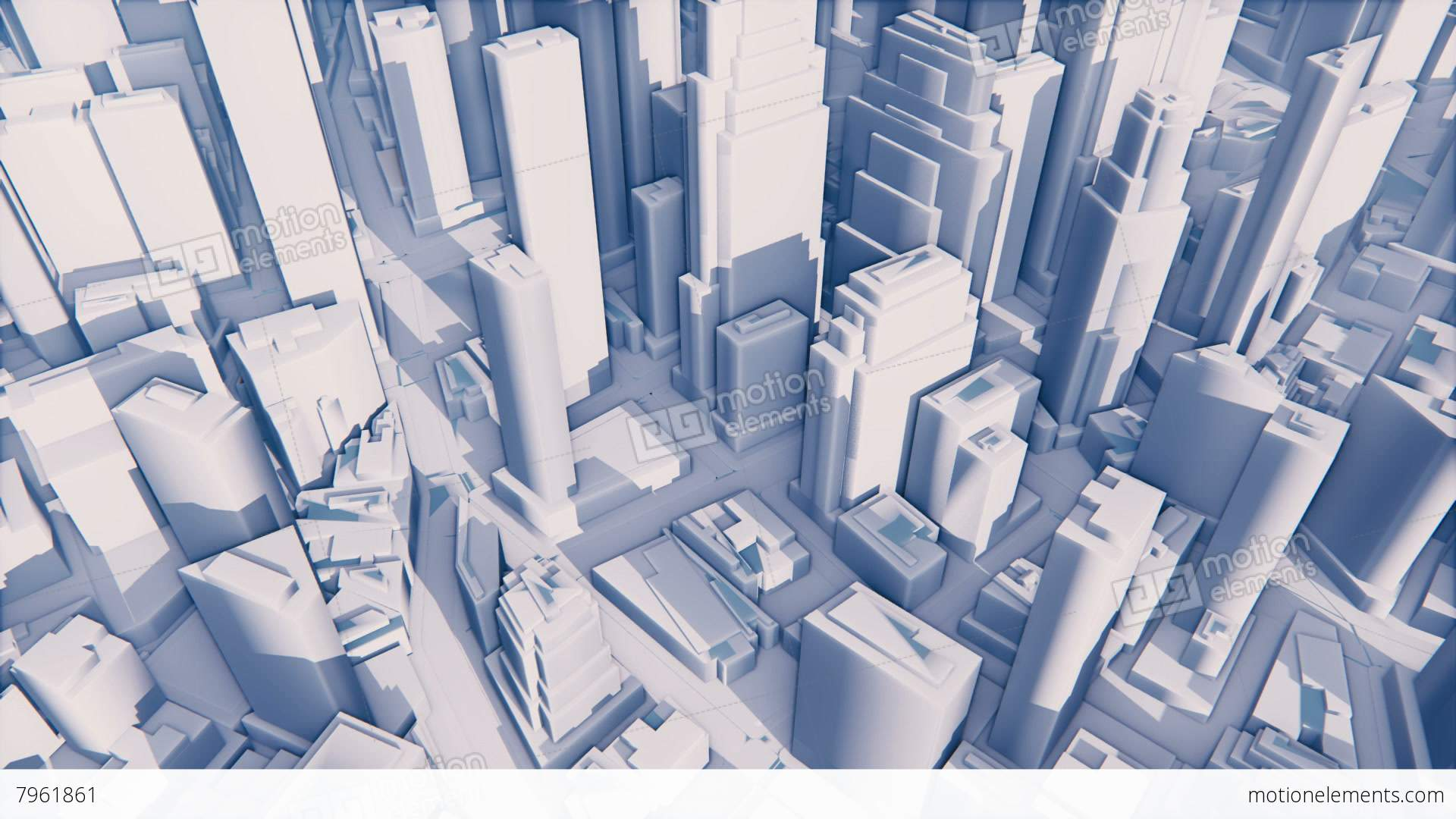 Abstract white 3d modern city with high rise buildings for Modern high rise building design