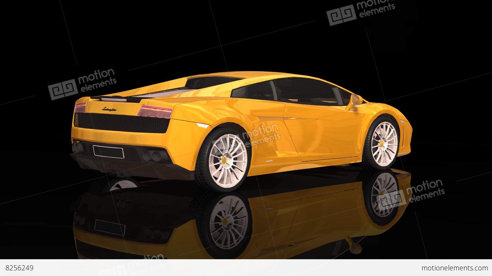 Luxury Sport Car Lamborghini Yellow Color Moving Rotation Stock