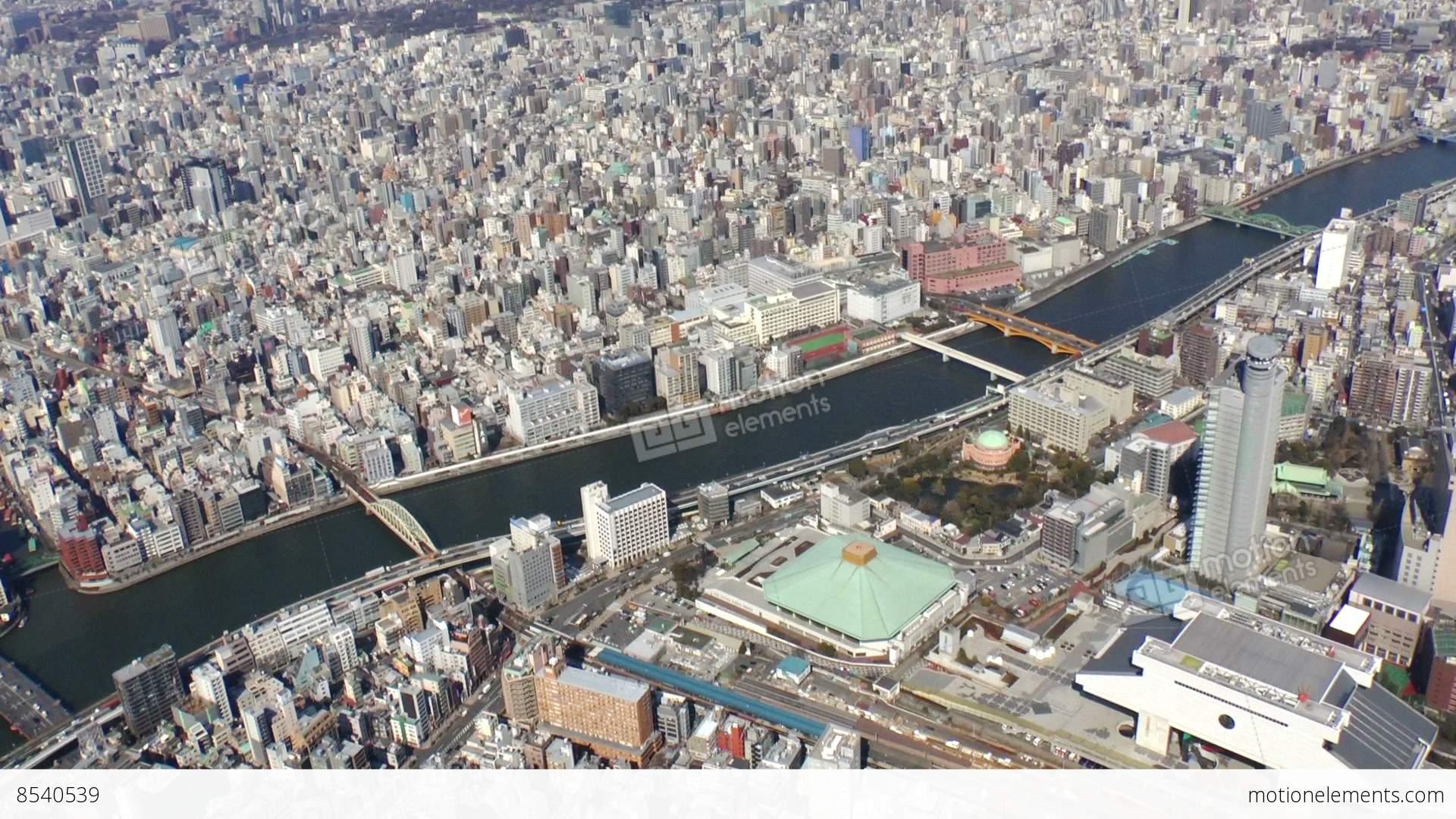 Ryogoku Kokugikan Area Aerial Shoot In Tokyo Japan Stock