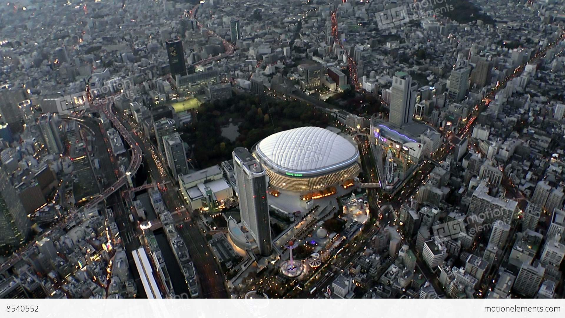 Tokyo dome light up aerial shoot in tokyo japan stock for Japan dome house price