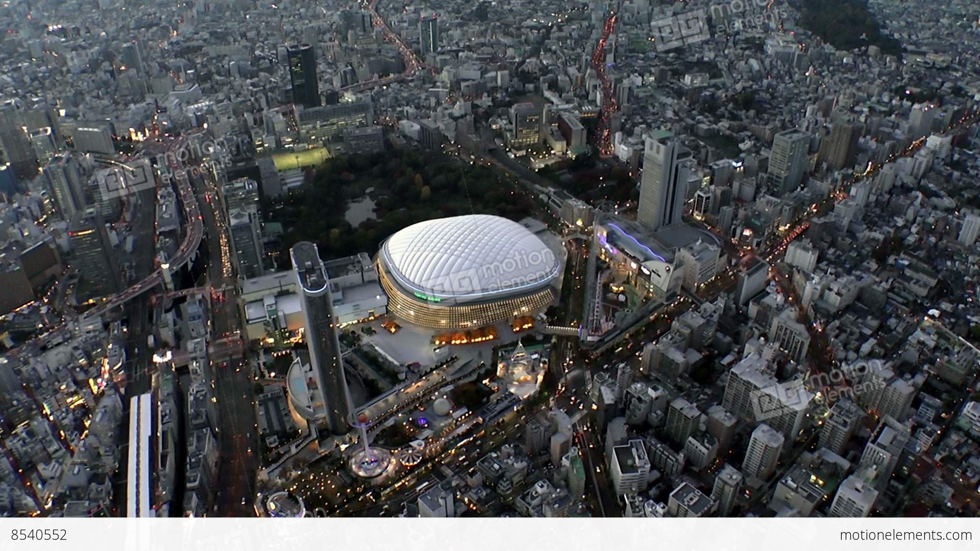 Tokyo Dome Light Up Aerial Shoot In Tokyo Japan Stock