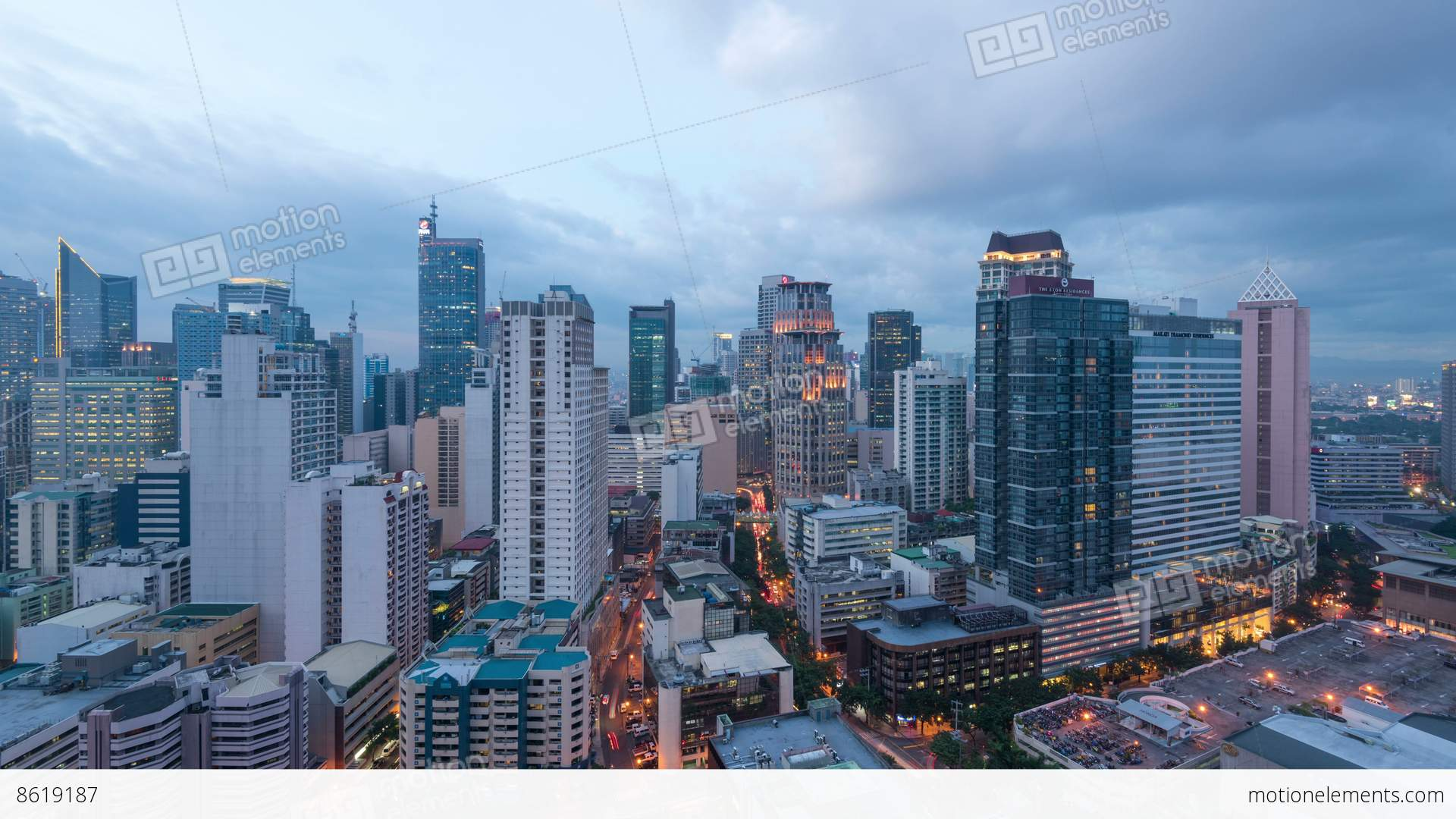 Makati Manila Philippines Day To Night Timelapse Stock