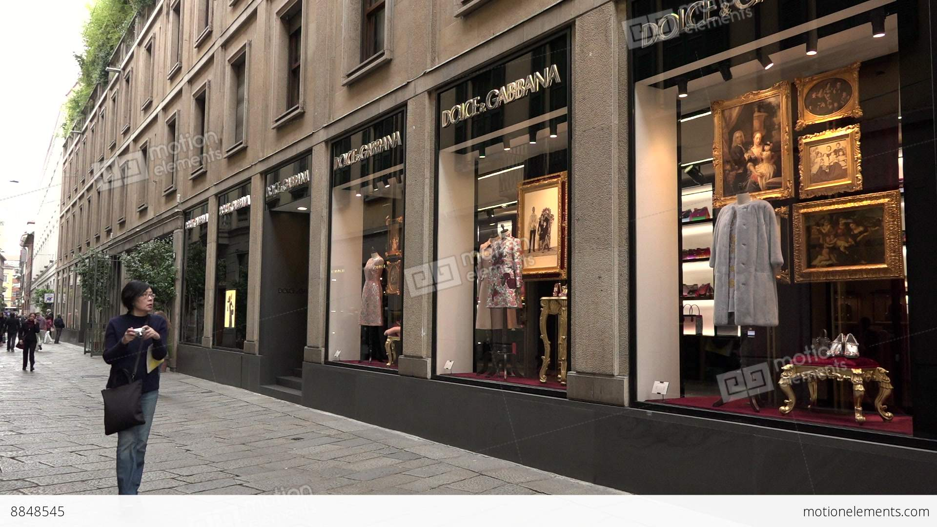 fashion district dolce gabbana shop store tourists milan milano italy stock video footage 8848545. Black Bedroom Furniture Sets. Home Design Ideas